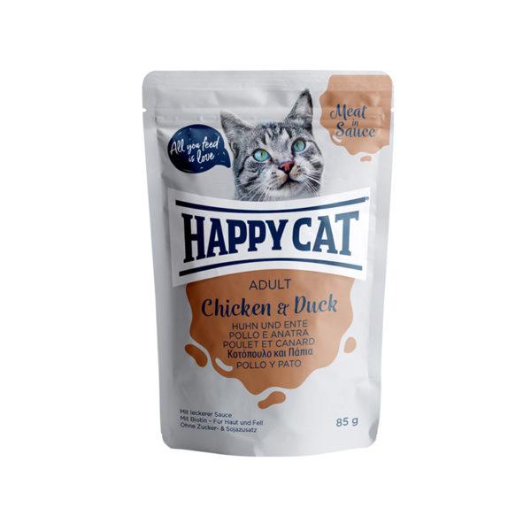 HappyCat våt/sås, Adult, kyckling & anka